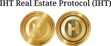 Set of physical golden coin IHT Real Estate Protocol IHT. Digital cryptocurrency. IHT Real Estate Protocol IHT icon set. Vector illustration isolated on white Royalty Free Stock Photos