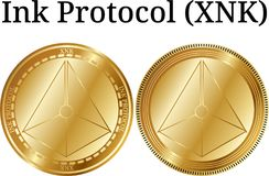 Set of physical golden coin Ink Protocol XNK. Digital cryptocurrency. Ink Protocol XNK icon set. Vector illustration isolated on white background Royalty Free Stock Photos