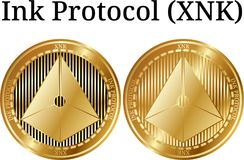 Set of physical golden coin Ink Protocol XNK. Digital cryptocurrency. Ink Protocol XNK icon set. Vector illustration isolated on white background Stock Photos