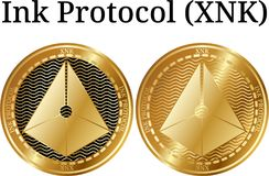 Set of physical golden coin Ink Protocol XNK. Digital cryptocurrency. Ink Protocol XNK icon set. Vector illustration isolated on white background Stock Image