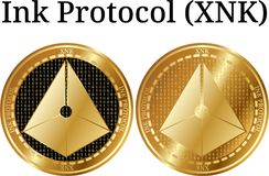 Set of physical golden coin Ink Protocol XNK. Digital cryptocurrency. Ink Protocol XNK icon set. Vector illustration isolated on white background Royalty Free Stock Photo