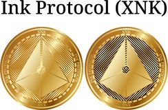 Set of physical golden coin Ink Protocol XNK. Digital cryptocurrency. Ink Protocol XNK icon set. Vector illustration isolated on white background Royalty Free Stock Images