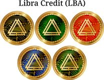 Set of physical golden coin Libra Credit LBA Royalty Free Stock Images