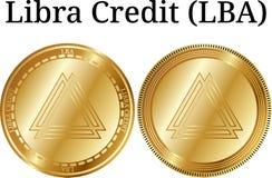 Set of physical golden coin Libra Credit LBA Stock Image