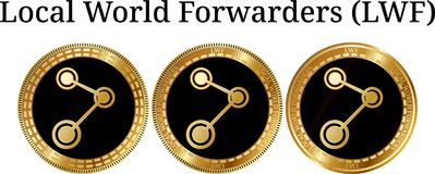 Set of physical golden coin Local World Forwarders LWF Royalty Free Stock Image