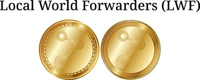 Set of physical golden coin Local World Forwarders LWF Stock Image