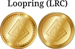 Set of physical golden coin Loopring LRC, digital cryptocurrency. Loopring LRC icon set. vector illustration