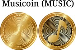 Set of physical golden coin Musicoin MUSIC. Digital cryptocurrency. Musicoin MUSIC icon set. Vector illustration isolated on white background Stock Image