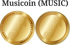 Set of physical golden coin Musicoin MUSIC. Digital cryptocurrency. Musicoin MUSIC icon set. Vector illustration isolated on white background Royalty Free Stock Images