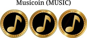 Set of physical golden coin Musicoin MUSIC. Digital cryptocurrency. Musicoin MUSIC icon set. Vector illustration isolated on white background Stock Photos