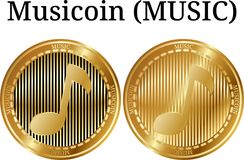 Set of physical golden coin Musicoin MUSIC. Digital cryptocurrency. Musicoin MUSIC icon set. Vector illustration isolated on white background Stock Photography