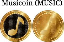 Set of physical golden coin Musicoin MUSIC. Digital cryptocurrency. Musicoin MUSIC icon set. Vector illustration isolated on white background Royalty Free Stock Photography