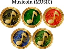 Set of physical golden coin Musicoin MUSIC. Digital cryptocurrency. Musicoin MUSIC icon set. Vector illustration isolated on white background Stock Images