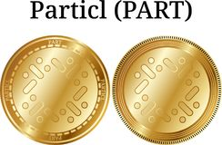 Set of physical golden coin Particl PART. Digital cryptocurrency. Particl PART icon set. Vector illustration isolated on white background Royalty Free Stock Photos