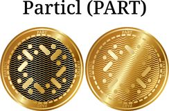 Set of physical golden coin Particl PART. Digital cryptocurrency. Particl PART icon set. Vector illustration isolated on white background Royalty Free Stock Images