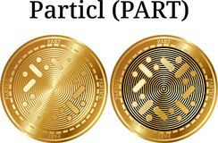 Set of physical golden coin Particl PART. Digital cryptocurrency. Particl PART icon set. Vector illustration isolated on white background Stock Image