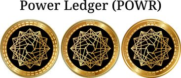 Set of physical golden coin Power Ledger POWR. Digital cryptocurrency. Power Ledger POWR icon set. Vector illustration isolated on white background Royalty Free Stock Photography