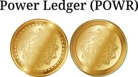 Set of physical golden coin Power Ledger POWR. Digital cryptocurrency. Power Ledger POWR icon set. Vector illustration isolated on white background Stock Photos