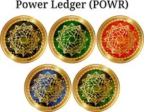 Set of physical golden coin Power Ledger POWR. Digital cryptocurrency. Power Ledger POWR icon set. Vector illustration isolated on white background Royalty Free Stock Photo