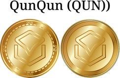 Set of physical golden coin QunQun QUN, digital cryptocurrency. QunQun QUN icon set. vector illustration