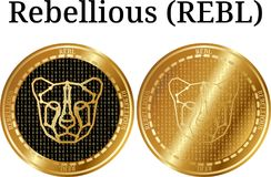 Set of physical golden coin Rebellious REBL, digital cryptocurrency. Rebellious REBL icon set. Vector illustration isolated on white background Stock Photos
