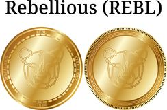 Set of physical golden coin Rebellious REBL, digital cryptocurrency. Rebellious REBL icon set. Vector illustration isolated on white background Royalty Free Stock Photos