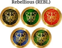 Set of physical golden coin Rebellious REBL, digital cryptocurrency. Rebellious REBL icon set. Vector illustration isolated on white background Royalty Free Stock Images