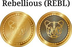 Set of physical golden coin Rebellious REBL, digital cryptocurrency. Rebellious REBL icon set. Vector illustration isolated on white background Stock Photography