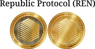 Set of physical golden coin Republic Protocol REN. Digital cryptocurrency. Republic Protocol REN icon set. Vector illustration isolated on white background Royalty Free Stock Photo