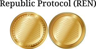 Set of physical golden coin Republic Protocol REN. Digital cryptocurrency. Republic Protocol REN icon set. Vector illustration isolated on white background Stock Images