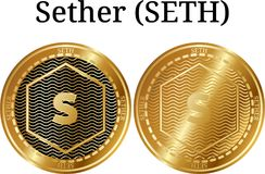 Set of physical golden coin Sether SETH. Digital cryptocurrency. Sether SETH icon set. Vector illustration isolated on white background Stock Images