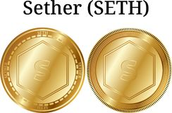 Set of physical golden coin Sether SETH. Digital cryptocurrency. Sether SETH icon set. Vector illustration isolated on white background Stock Photos