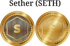 Set of physical golden coin Sether SETH. Digital cryptocurrency. Sether SETH icon set. Vector illustration isolated on white background Royalty Free Stock Images