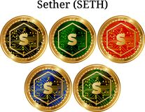Set of physical golden coin Sether SETH. Digital cryptocurrency. Sether SETH icon set. Vector illustration isolated on white background Stock Photography