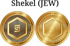 Set of physical golden coin Shekel (JEW). Digital cryptocurrency. Shekel (JEW) icon set. Vector illustration isolated on white background royalty free illustration