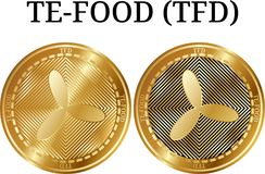 Set of physical golden coin TE-FOOD TFD. Digital cryptocurrency. TE-FOOD TFD icon set. Vector illustration isolated on white background Royalty Free Stock Photo