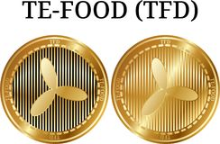 Set of physical golden coin TE-FOOD TFD. Digital cryptocurrency. TE-FOOD TFD icon set. Vector illustration isolated on white background Stock Images