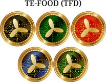 Set of physical golden coin TE-FOOD TFD. Digital cryptocurrency. TE-FOOD TFD icon set. Vector illustration isolated on white background Stock Photo