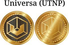 Set of physical golden coin Universa UTNP Royalty Free Stock Image