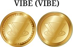 Set of physical golden coin VIBE VIBE. Digital cryptocurrency. VIBE VIBE icon set. Vector illustration isolated on white background Stock Images