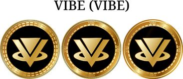 Set of physical golden coin VIBE VIBE. Digital cryptocurrency. VIBE VIBE icon set. Vector illustration isolated on white background Royalty Free Stock Images