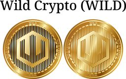 Set of physical golden coin Wild Crypto WILD. Digital cryptocurrency. Wild Crypto WILD icon set. Vector illustration isolated on white background Stock Photos