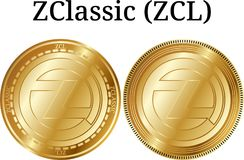 Set of physical golden coin ZClassic ZCL, digital cryptocurrency. ZClassic ZCL icon set. royalty free illustration