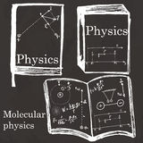 Set of physics textbook, workbook on school board. Freehand draw Royalty Free Stock Photo