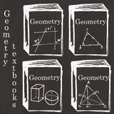 Set of physics textbooks on school board. Freehand drawing. Geom Stock Image