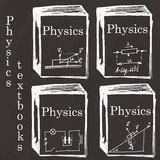 Set of physics textbooks on school board. Freehand drawing. Phys Stock Photography