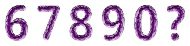 Set pięć Łacińskich liczb I znak zapytania Papierowy styl, rżnięty karton, luźny z cieniem 6 7 8 9 (0)? royalty ilustracja