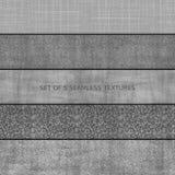 Set pięć bezszwowa reliefowa tekstura kamień Zdjęcia Stock
