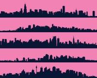 Set pięć miastowych błękitnych sylwetek, miasto, wektor Zdjęcia Stock