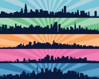 Set pięć miastowych błękitnych sylwetek, miasto, wektor Zdjęcie Royalty Free